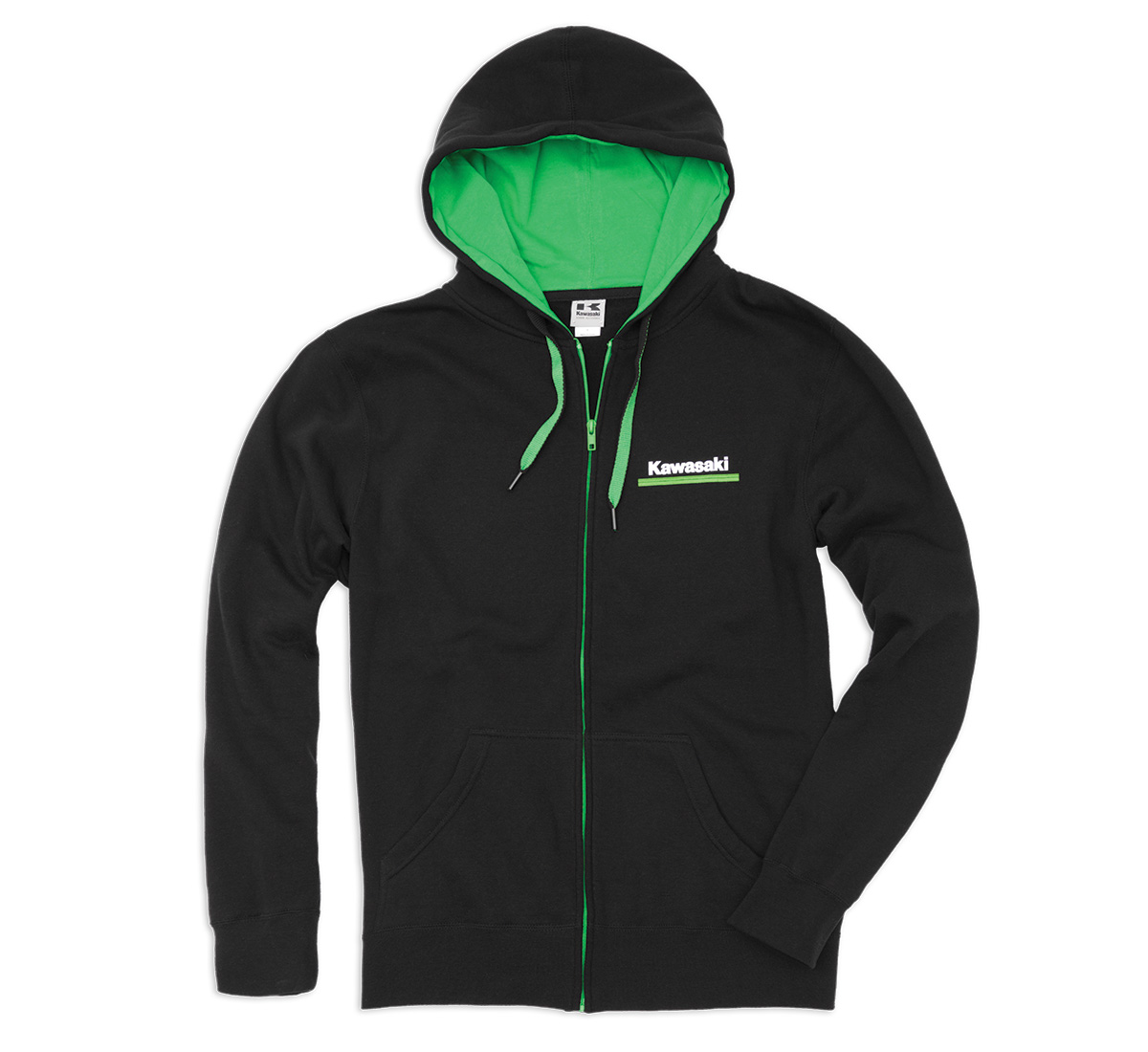 Kawasaki 3 Green Lines Zip-Front Hooded Sweatshirt