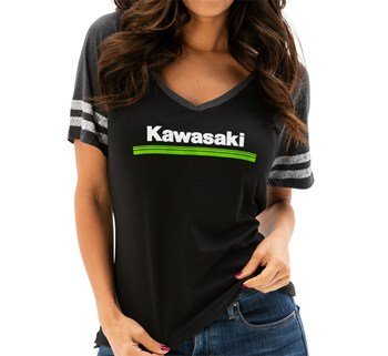 Women's Kawasaki 3 Green Lines V-Neck Athletic Tee model