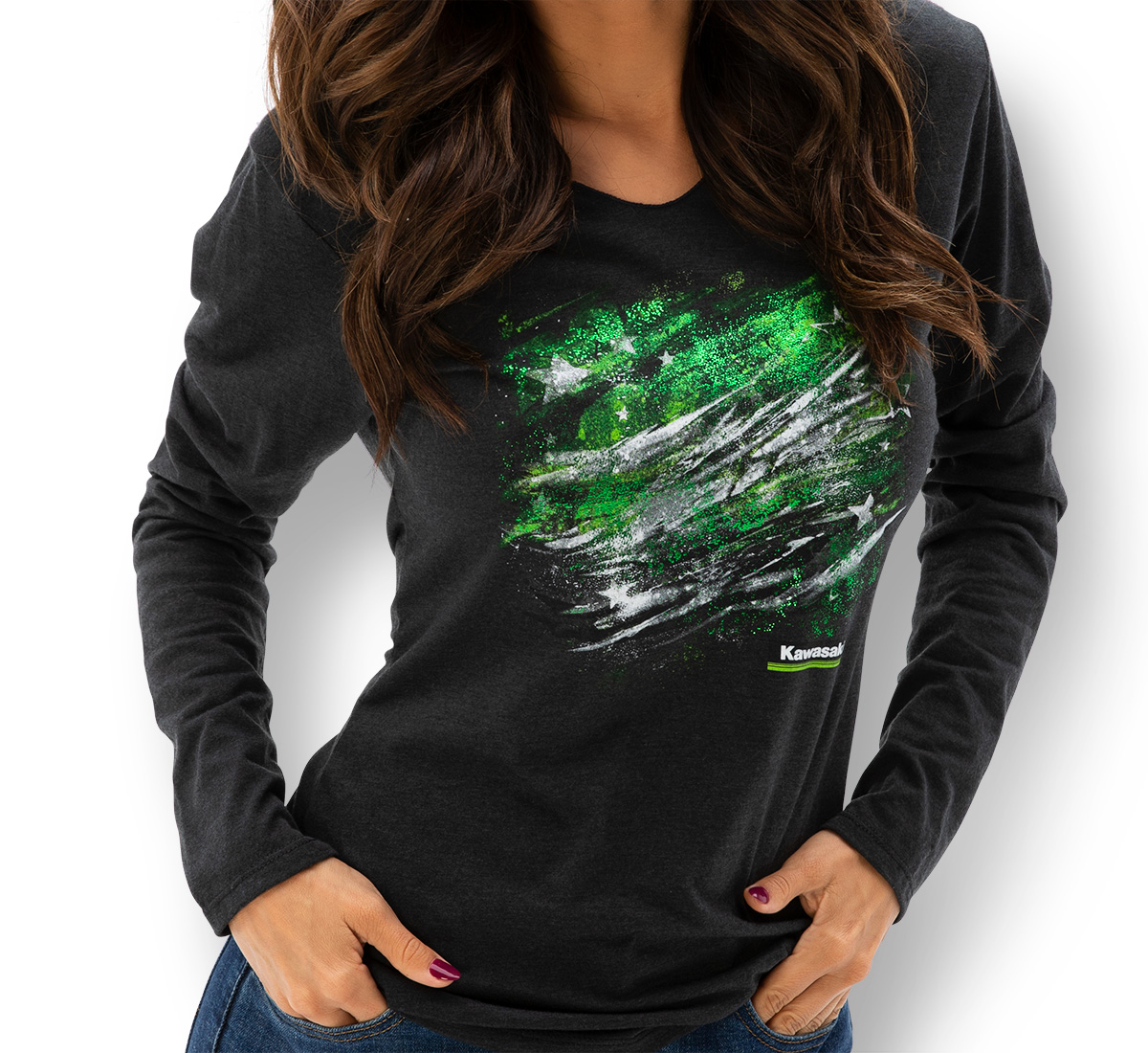 Women's Kawasaki Long Sleeve Hooded Flag Tee