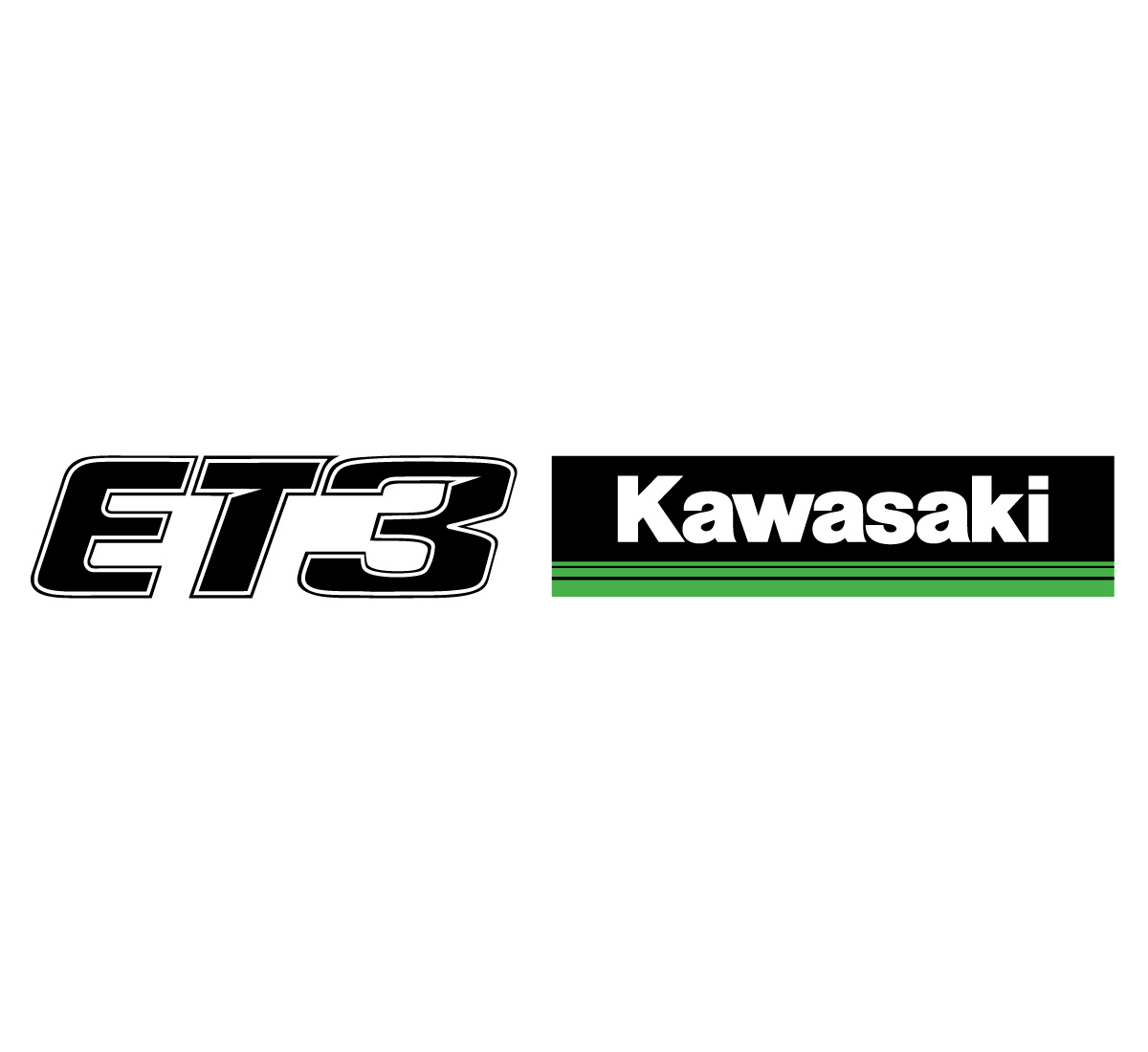 ET3 And Kawasaki 3 Green Lines Side By Logos 12 Inch Sticker