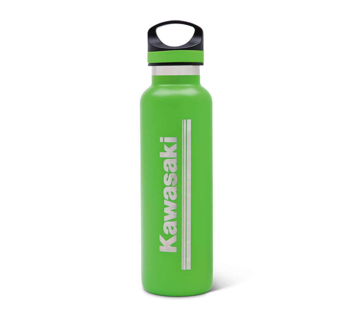 Kawasaki 3 Green Lines Stainless Steel Bottle